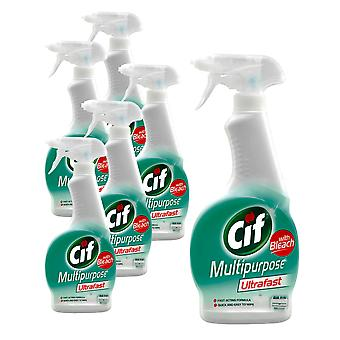 6 x 450ml Cif Multipurpose Surface Disinfectant Cleaner Spray Sanitise Ultrafast Bleach