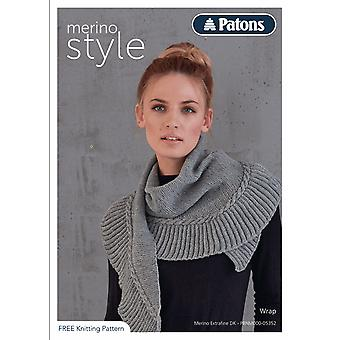 Patons Knitting Pattern - Merino Extrafine DK - Scarf Wrap