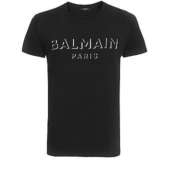Balmain Uh11601i3640pa Män's Black Cotton T-shirt