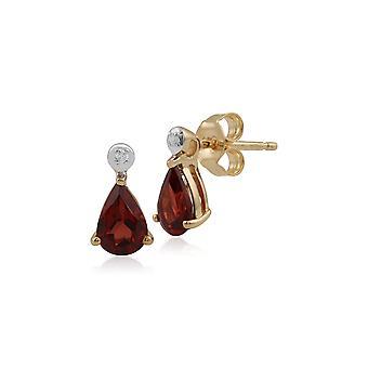 Classic Päärynä Garnet & Diamond Drop korvakorut 9ct Keltainen Kulta 135E1263079
