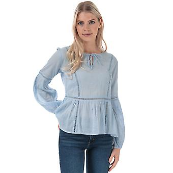 Women's Jacqueline de Yong Trinity Life Lace Blouse in Blue