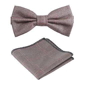 Boys Mens Tweed Check Dickie Bow Tie in Tan Brown