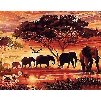 Peinture à la main acrylique Image Sunset Elephants Animaux Diy Peinture par nombres