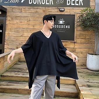 الرجال قصيرة كم كبير الحجم قميص تي غير منتظمة