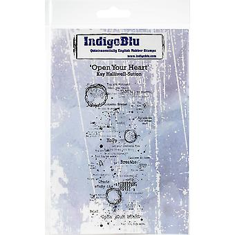 """IndigoBlu Cling Mounted Stamp 5""""X4""""-Open Your Heart"""