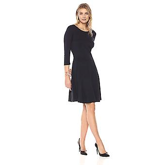 Lark & Ro Women's Three Quarter Sleeve Knit Fit and Flare Dress, Navy, Medium