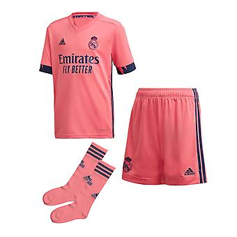 adidas Real Madrid 2020/21 Junior Kids Fotboll Away Mini Kit Rosa