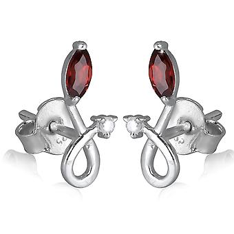 ADEN 925 Sterling Silver Garnet and Zirconium Earrings (id 2070)