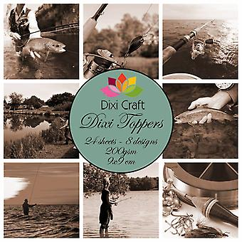 Dixi Craft Dixi Toppers Fishing - Sepia 9x9cm