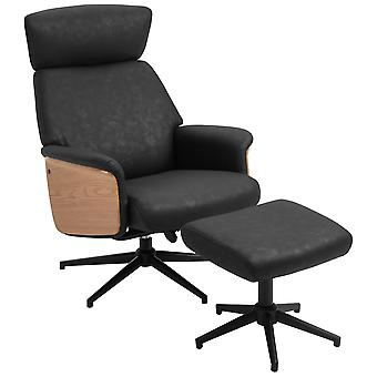 HOMCOM  Fabric Swivel Recliner Chair with footstool Metal Base Wood Armrest Black
