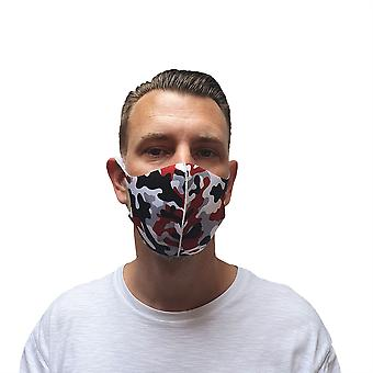 Reusable Face Mask Red Camouflage