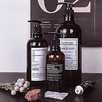 Nordic Style Barna fürdő újratölthető palack tusfürdő sampon press palack tusfürdő újratölthető fürdő tároló palackok