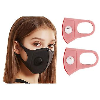 2x Face Mask with breathing valve, Pink, Washable Reusable, Munskydd