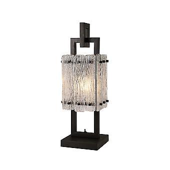 Lampada da tavolo, 1 Light E27, Matt Black, Crystal Sand Glass