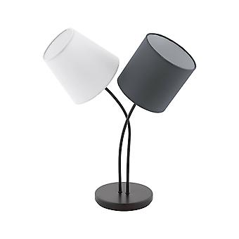 2 Light Table Lamp Black with Coloured Fabric Shades, E14