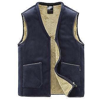 YANGFAN Men's Plush Colete de colete v pescoço grosso dourado quente