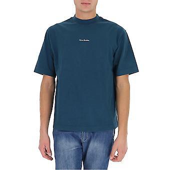 Acne Studios Bl0198deeppetrol Men's Blue Cotton T-shirt