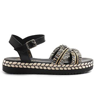 Black Leather Sandal With Price Lists and Decorations