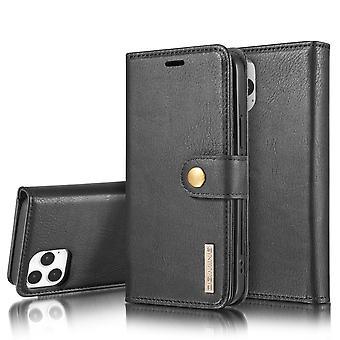 Dg. MING iPhone 12/12 Pro Split Leather Wallet Case - Black