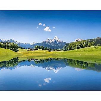Frame Mountain, Lake Diy Painting By Numbers - Paysage peinture à la main Huile