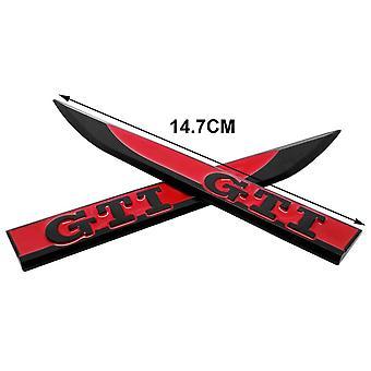 أسود / أحمر GTI شفرات فولكس فاجن فولكس فاجن الجانب الجناح شارة شارة 147mm × 17mm (1 زوج)