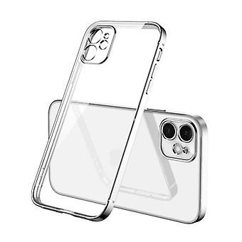 PUGB iPhone 8 Plus Case Luxe Frame Bumper - Case Cover Silicone TPU Anti-Shock Silver