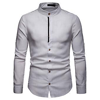 YANGFAN Men's Linen Long Sleeve Stand Collar Shirt
