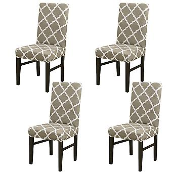 4pcs/set Geometric Patterns Stretchable Spandex Chair Covers For Dining Room
