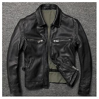 Gift Brand New Men Cowhide Coat Winter Warm Men's Genuine Leather Jacket