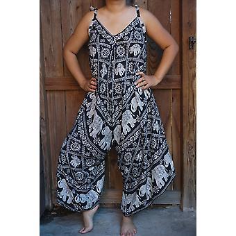 Black Elephant Boho Hippie Jumpsuit Rompers