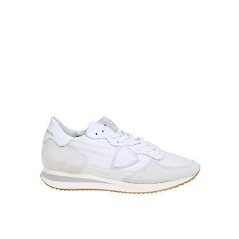 Philippe Modelo Tzld2101 Zapatillas de cuero blanco para mujer y apos;s
