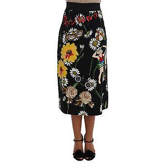 דולצ'ה וגבאנה שחור מעוטר דייזי ברוקד חצאית