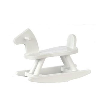Dolls House Sit On White Wooden Rocking Horse Toy Nursery Accessory