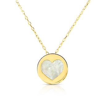 """14K Yellow Gold Mother Of Pearl Heart Pendant Necklace, 16"""""""