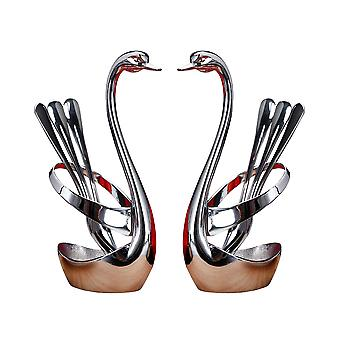 2 Pack Metal Swan Style Houder 6 Fruit Vork
