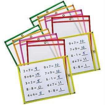 """Tasche cancellate asciutte, 5 colori al neon assortiti, 9"""" X 12"""", 10 tasche per confezione, 2 confezioni"""