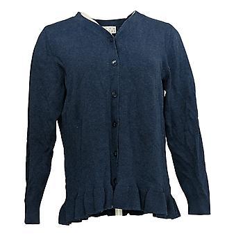 Coleção Joan Rivers Classics Women's Sweater V-Neck Blue A309634