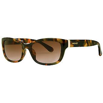 Negen West Classic Rechthoekige zonnebril - Bruine Schildpad Shell