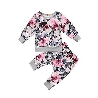 Baby Girl Floral Top And Pants Outfit Set