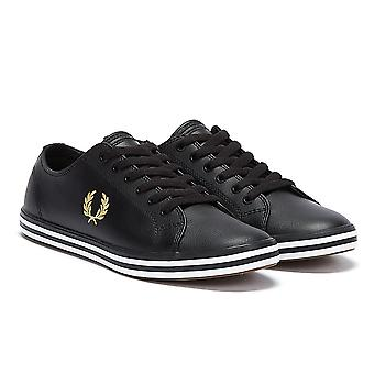 Fred Perry Kingston Leather Mens Black / Gold Trainers