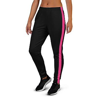 Women's Black Joggers With Pink Stripe
