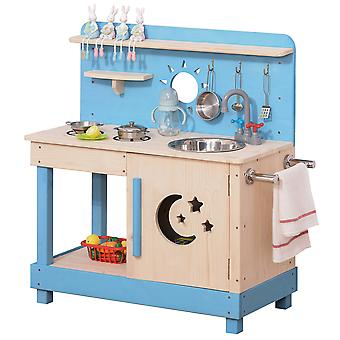 Outsunny Wooden Kitchen Playset, Kids Pretend Role Play Toy, Educational Game with Pots and Pans, Storage Shelf Cabinet, Side Hanger, for 3+ Years Old