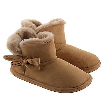 Kvinners komfortable vinter designer støvel med bue - lys brun størrelse 6