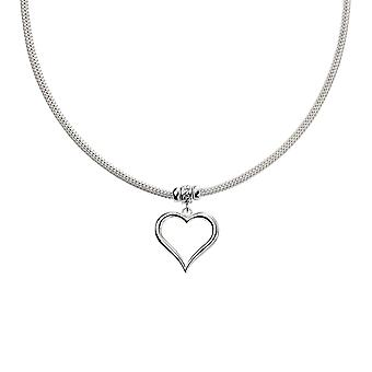 Elements Silver 925 Sterling Silver Womens Mesh Necklace With Heart and CZ Detail of Length 45cm