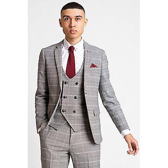 Marc Darcy ROSS Check Blazer - Grey