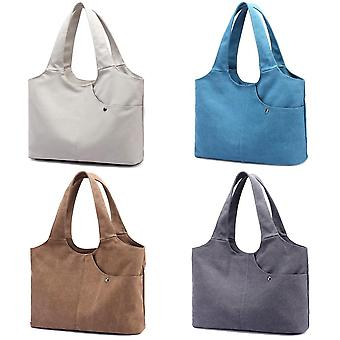 Women canvas shoulder bag handbag large capacity zipper pockets totes