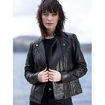 Antonia Läder Biker Jacka i svart