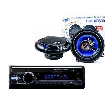 Paketti Radio MP3 autosoitin PNI Clementine 8524BT 4x45w + Koaksiaali auton kaiuttimet PNI HiFi500, 100W, 12,7 cm