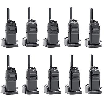 Kit 10 draagbare radiostations PNI PMR R30 Pro, inclusief batterijen, opladers en hoofdtelefoons