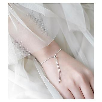 Silver Snake Chain Bow Knot Anklets Adjustable Women Accessories